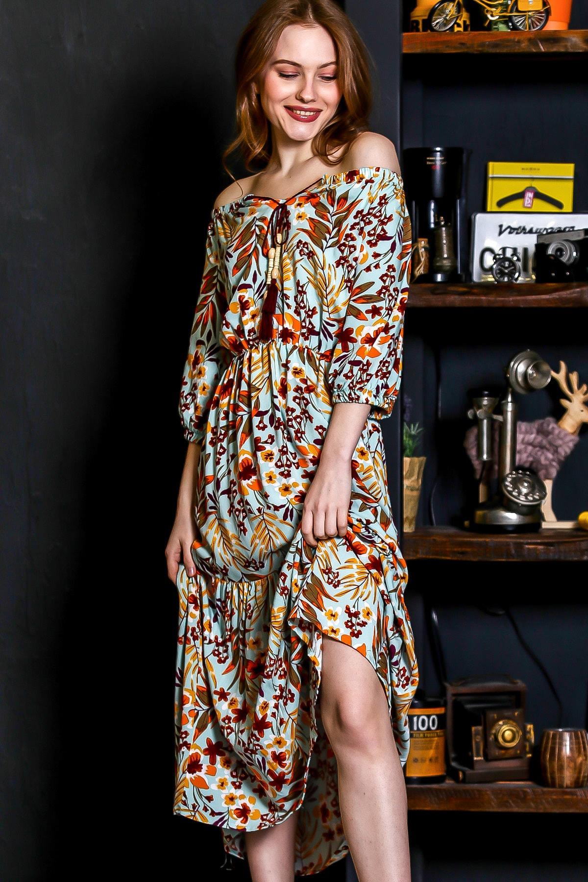Chiccy Kadın Mint Carmen Yaka Boncuklu Püskül Detaylı Beli Lastikli Uzun Dokuma Elbise M10160000EL95199