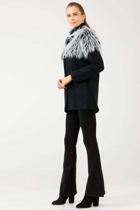 Sementa Kadın Yakası Suni Kürklü Ceket - Siyah - Ekru