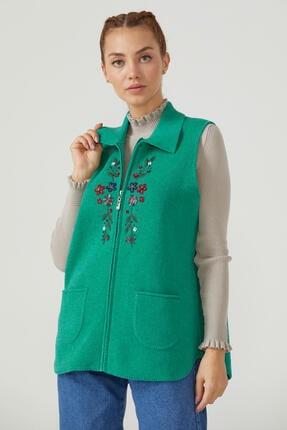 Sementa Kadın Fermuarlı Triko Yelek - Yeşil