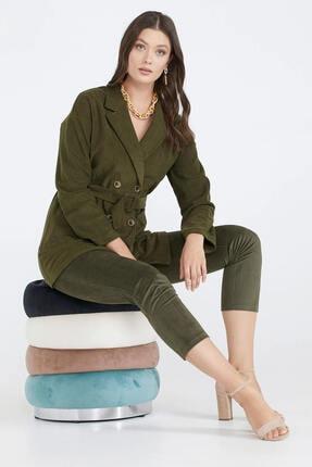 Sementa Kuşaklı Kadife Kadın Ceket - Haki