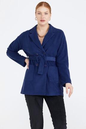 Sementa Kuşaklı Kadife Kadın Ceket - Indigo