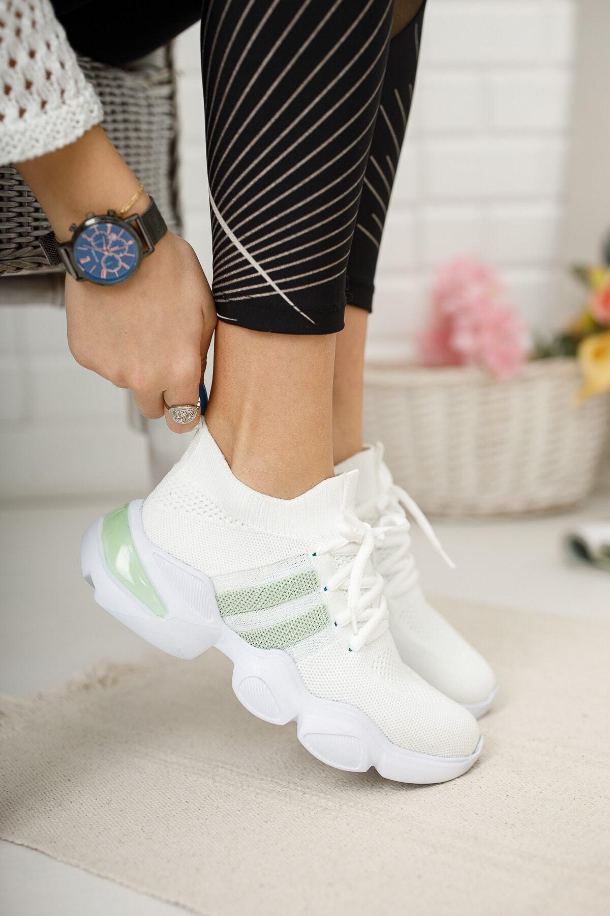meyra'nın ayakkabıları Beyaz Triko Sneakar 1