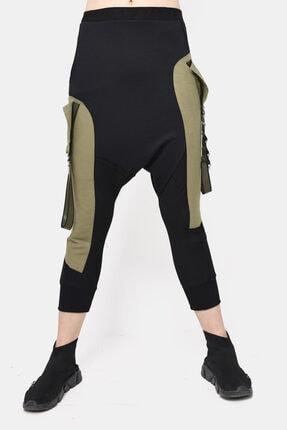 DQMANE Kadın Haki Siyah Tarz Tasarım Şalvar Pantolon
