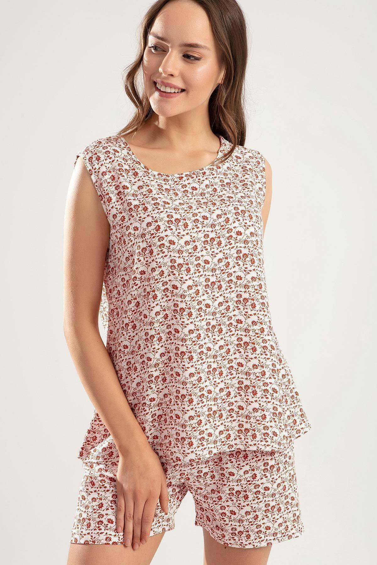 Pattaya Kadın Çiçekli Şortlu Pijama Takımı Y20s110-6478-1 2