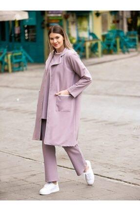 ALİA Kadın Mor Büyük Beden Beli Lastikli Biye Detaylı Pantolon