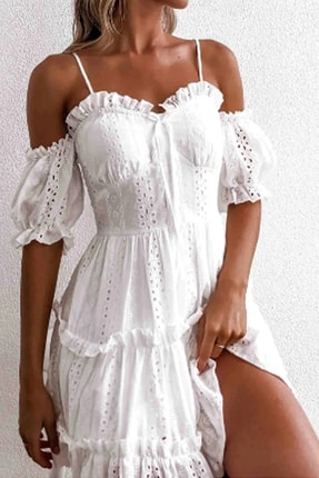 Özel Tasarım Askılı Fistolu Elbise Güpürlü Elbise Yazlık Elbise