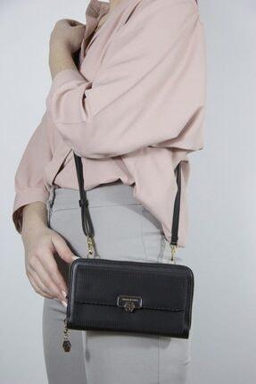Silver Polo Siyah Üç Bölmeli Kadın Çapraz Askılı Telefon Cüzdanı/cüzdan & Kartlık Sp921