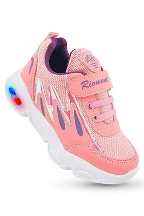 KAPTAN JUNIOR Kız Çocuk Pembe Işıklı Spor Ayakkabı