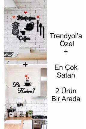 evdeucuz Mutfak Duvar Dekoru+bi Kahve 2'si Bir Arada