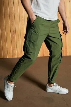 Sateen Men Erkek Haki Paraşüt Kumaş Pantolon