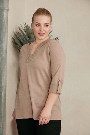 RMG Kadın Vizon Kol Detaylı Büyük Beden Bluz