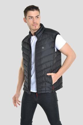 LTC Jeans Erkek Armalı Dik Yaka Geometrik Desen Çift Taraf Iç Cep Detay Mat Siyah Yelek