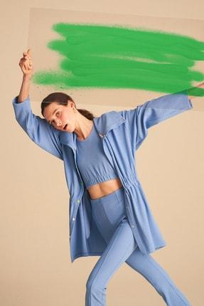 Nocturne Kadın Mavi Triko Şeritli Örme Ceket N21Y-5408-0011