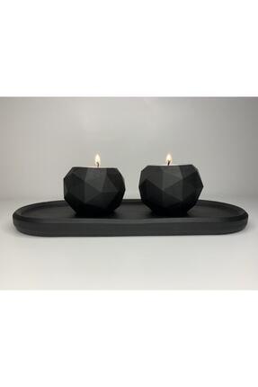 Elver Atolye Elver Atölye Beton Siyah Mumluk Set - 20 x 14 cm
