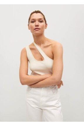 MANGO Woman Kadın ten Rengi Asimetrik Tasarımlı Bluz