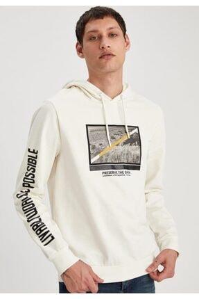 DeFacto Erkek Ekru Baskılı Slim Fit Kapüşonlu Sweatshirt