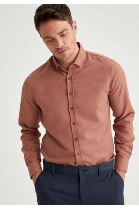 DeFacto Erkek Pembe Modern Fit Uzun Kollu Basic Gömlek