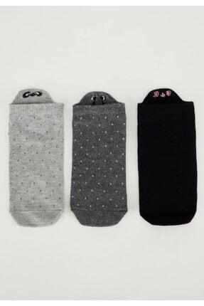 DeFacto Kadın Siyah Gri Desenli 3'lü Patik Çorap