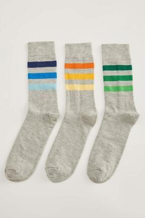 DeFacto Renk Bloklu 3'lü Soket Çorap