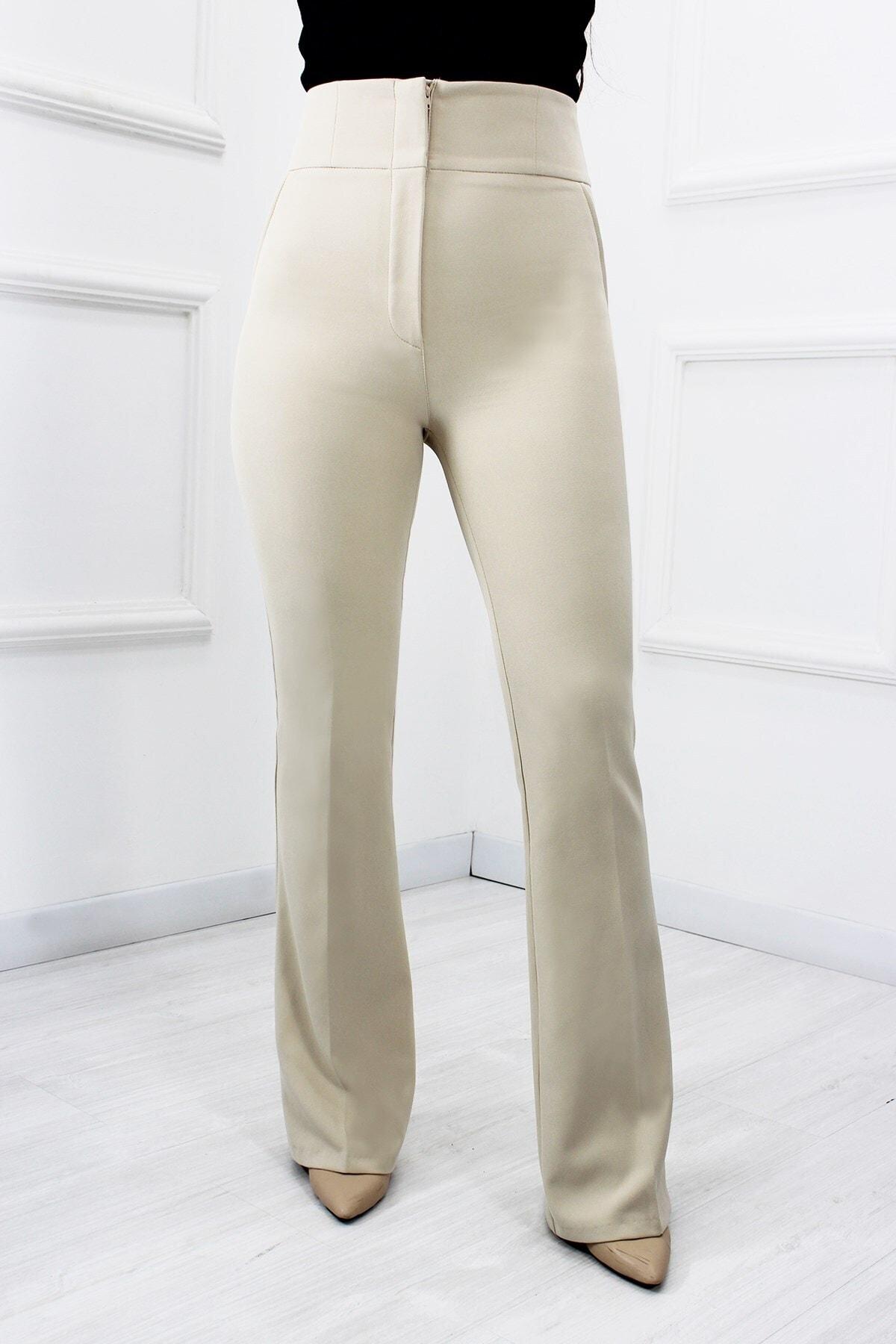 UGİMPOL Kadın Bej Yüksek Bel İspanyol Pantolon 1