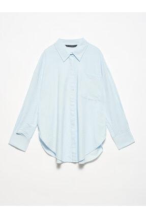 Dilvin Kadın Mavi  Salaş Gömlek-5854