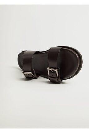 MANGO Man Erkek kahverengi Deri Bantlı Sandalet