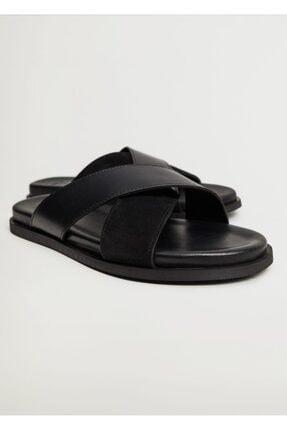 MANGO Man Deri Bantlı Erkek  Sandalet