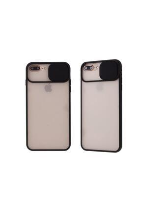 Teknoçeri Iphone 7 Plus / 8 Plus Uyumlu Siyah Kamera Lens Korumalı Sürgülü Kılıf