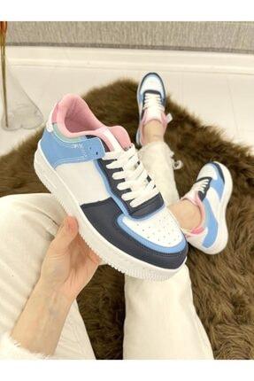 ELSESHOES Kadın Beyaz Mavi Sneaker