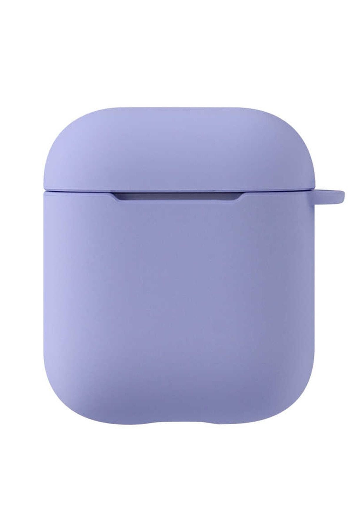Sunix Airpods 2.Nesil Uyumlu Pastel Mor Renkli Silikon Koruma Kopçalı Kılıf 1