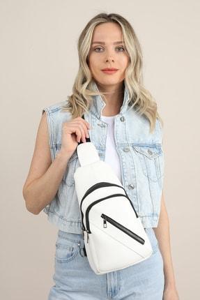 Madamra Aynı Butikte 2. Ürün 1 TL Beyaz Kadın Üç Bölmeli Çanta