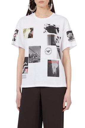 Emporio Armani Kadın Beyaz Baskılı Bisiklet Yaka Pamuklu T-shirt