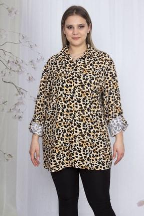 Şans Kadın Kahve Desenli Klasik Bluz 65N23606