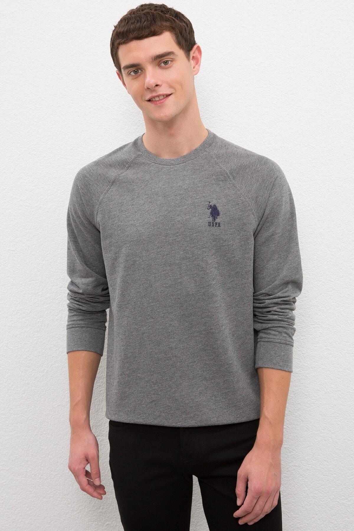 U.S. Polo Assn. Grı Erkek Sweatshirt 1