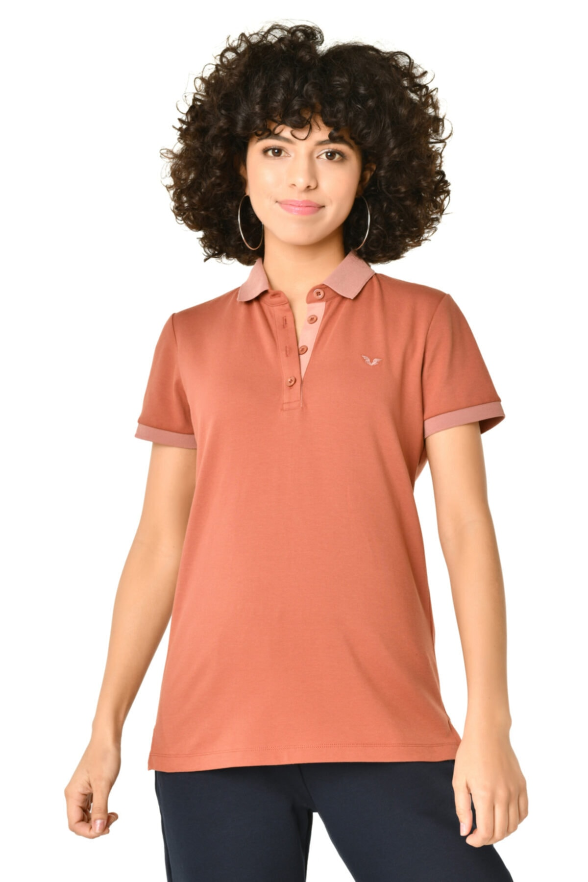 bilcee Kadın Toprak Polo Yaka Tshirt Hs-8719 1