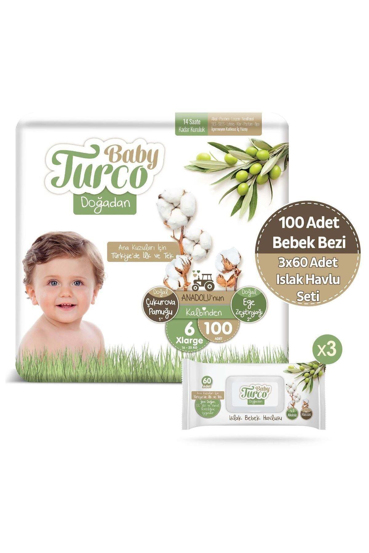 Baby Turco Doğadan 6 Numara Xlarge 100 Adet + 3x60 Doğadan Islak Havlu Seti 1