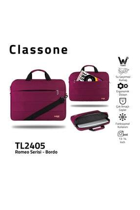 Classone Romeo Serisi Tl2405 13-14 Inch Uyumlu Su Geçirmez Kumaş, Laptop, Notebook El Çantası- Bordo
