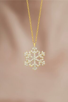takı tak silver Kadın Tamamı Saf 925 Ayar Gümüş Altın Kaplama Kar Tanesi Gümüş Kolye