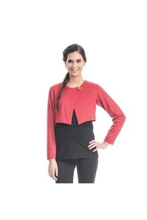 Even Fashion Hamile Giyim Kadın Kırmızı Fiyonk Detaylı Hamile Bolero