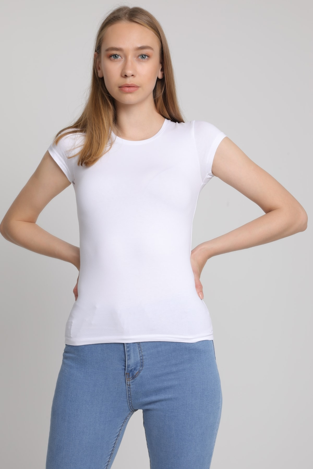 MD trend Kadın Beyaz Bisiklet Yaka T-Shirt Mdt3511 2