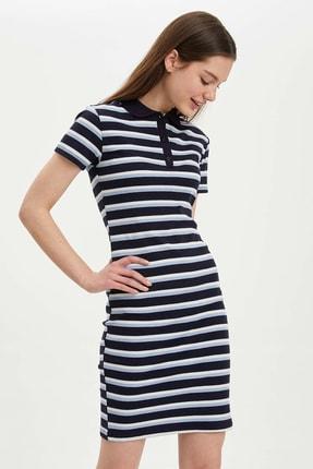 DeFacto Kadın Lacivert Desenli Slim Fit Örme Elbise O0279AZ.20SP.NV94