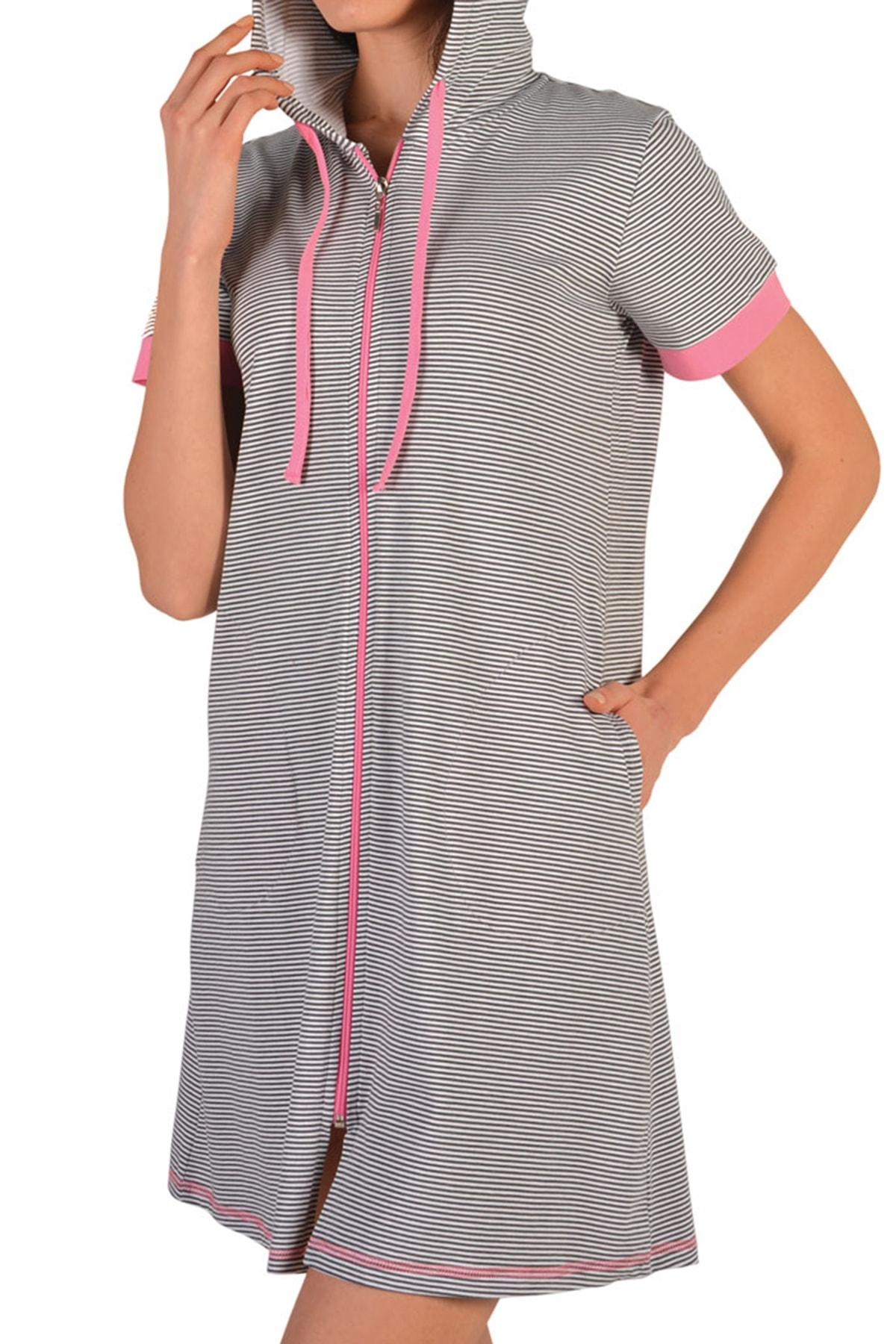 Nicoletta Tunik Ev Elbisesi Kısa Kollu Fermuarlı Kapüşonlu 1