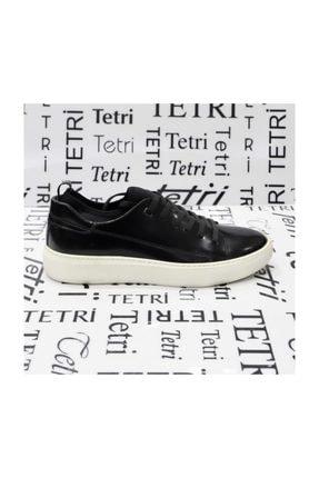 TETRİ Siyah Açma Deri Ayakkabı