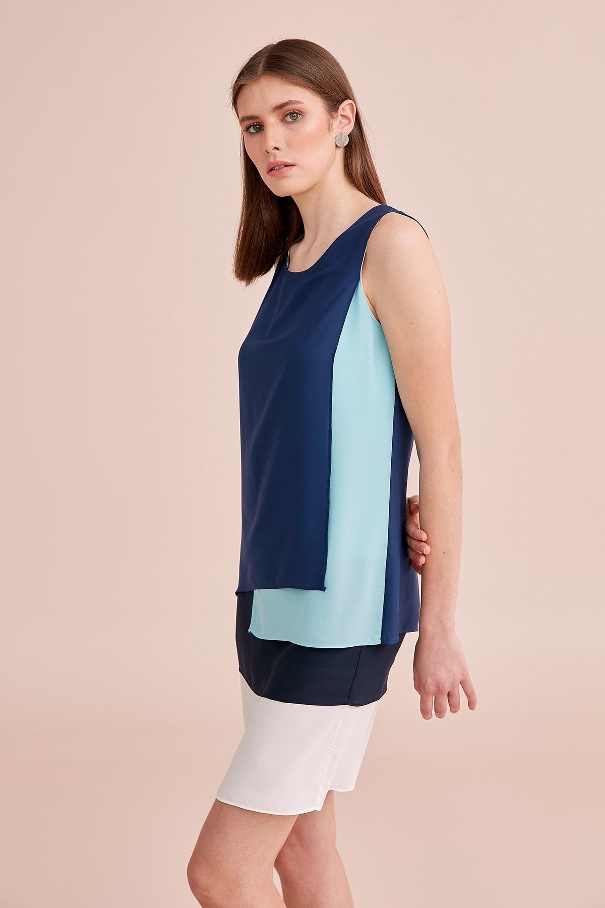 Journey Kadın Dört Renkli Lacivert Elbise 20YELB992