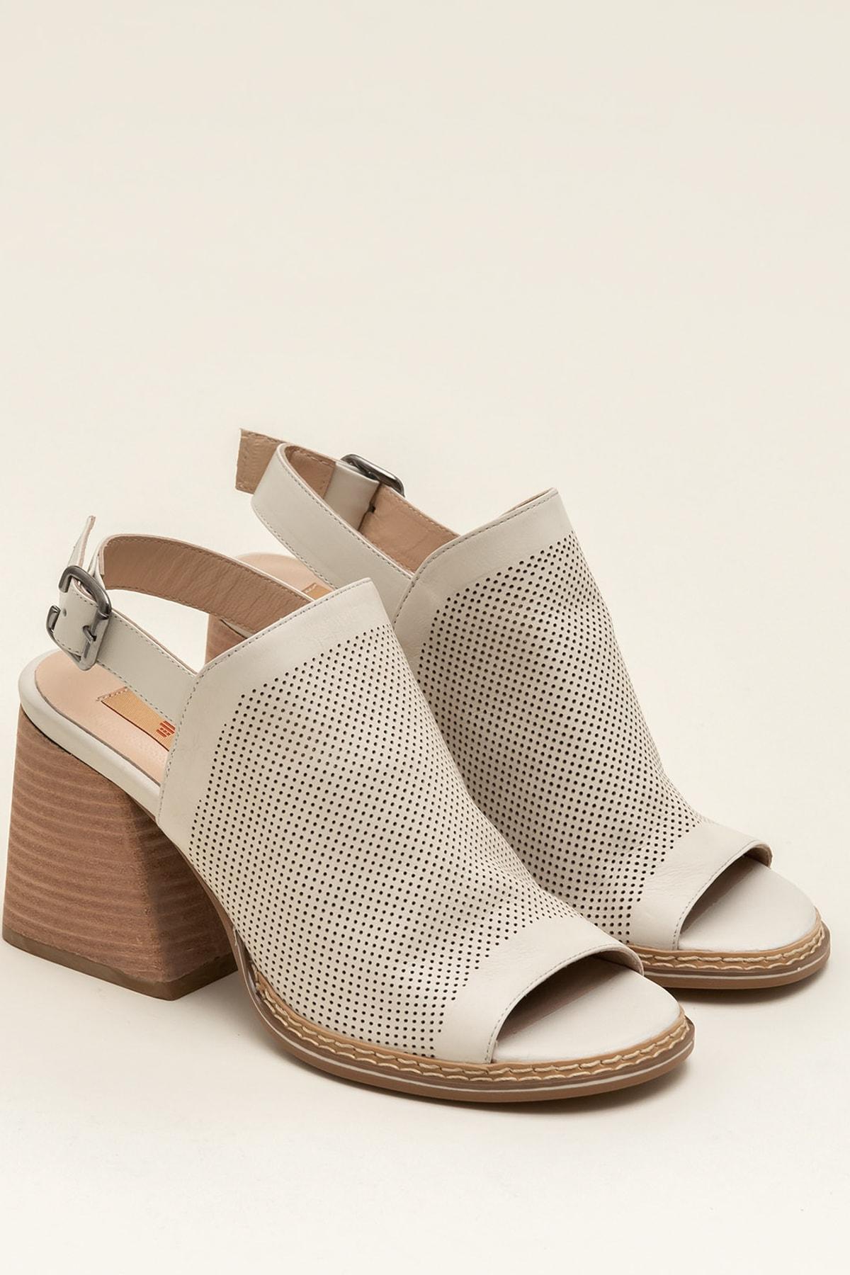 Elle Shoes PATRA Hakiki Deri Ecru Kadın Sandalet 2