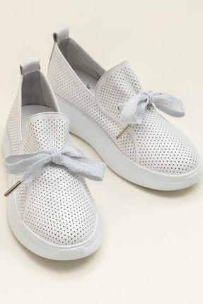 Elle Shoes EMELY Hakiki Deri Beyaz Kadın Ayakkabı