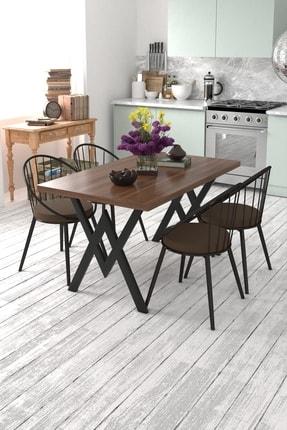 Evdemo Eylül 4 Kişilik Mutfak Masası Takımı Ceviz Kahverengi