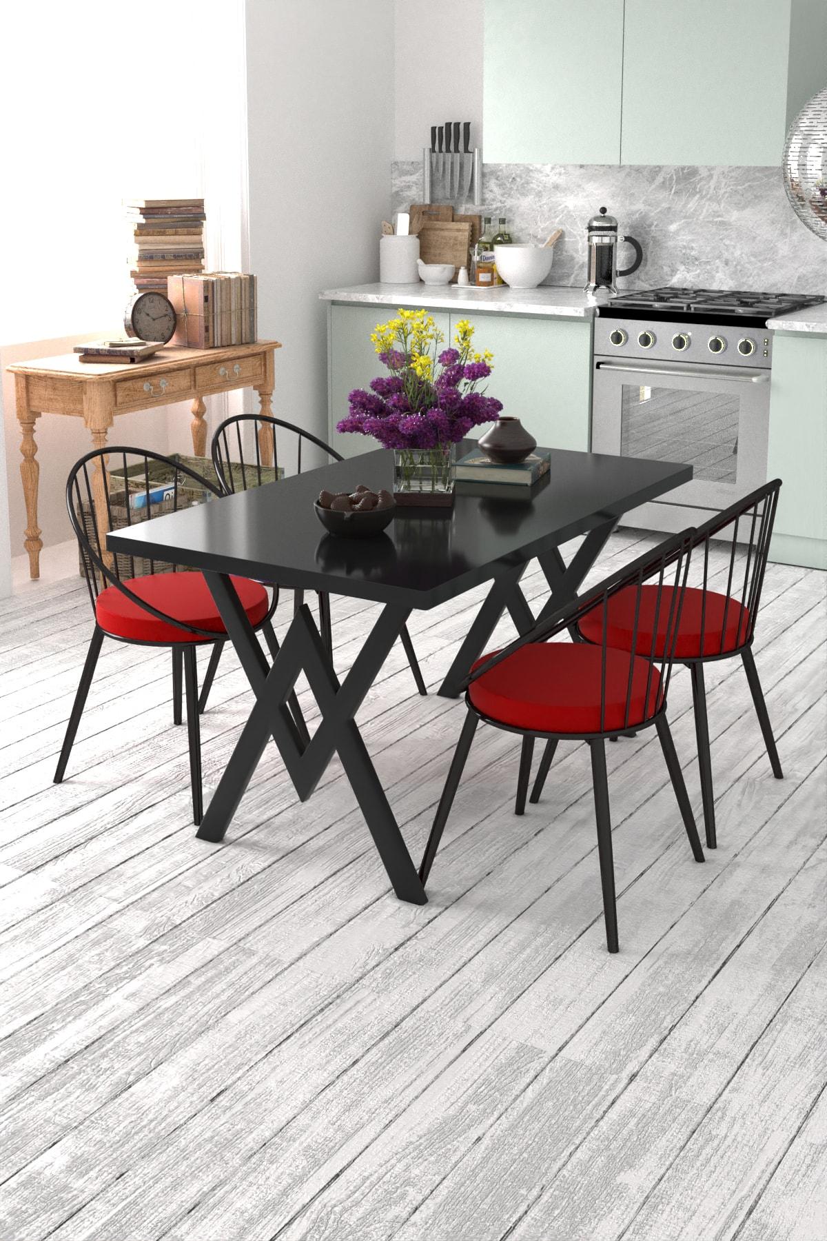 Evdemo 4 Kişilik Mutfak Masası Takımı Siyah Kırmızı 1
