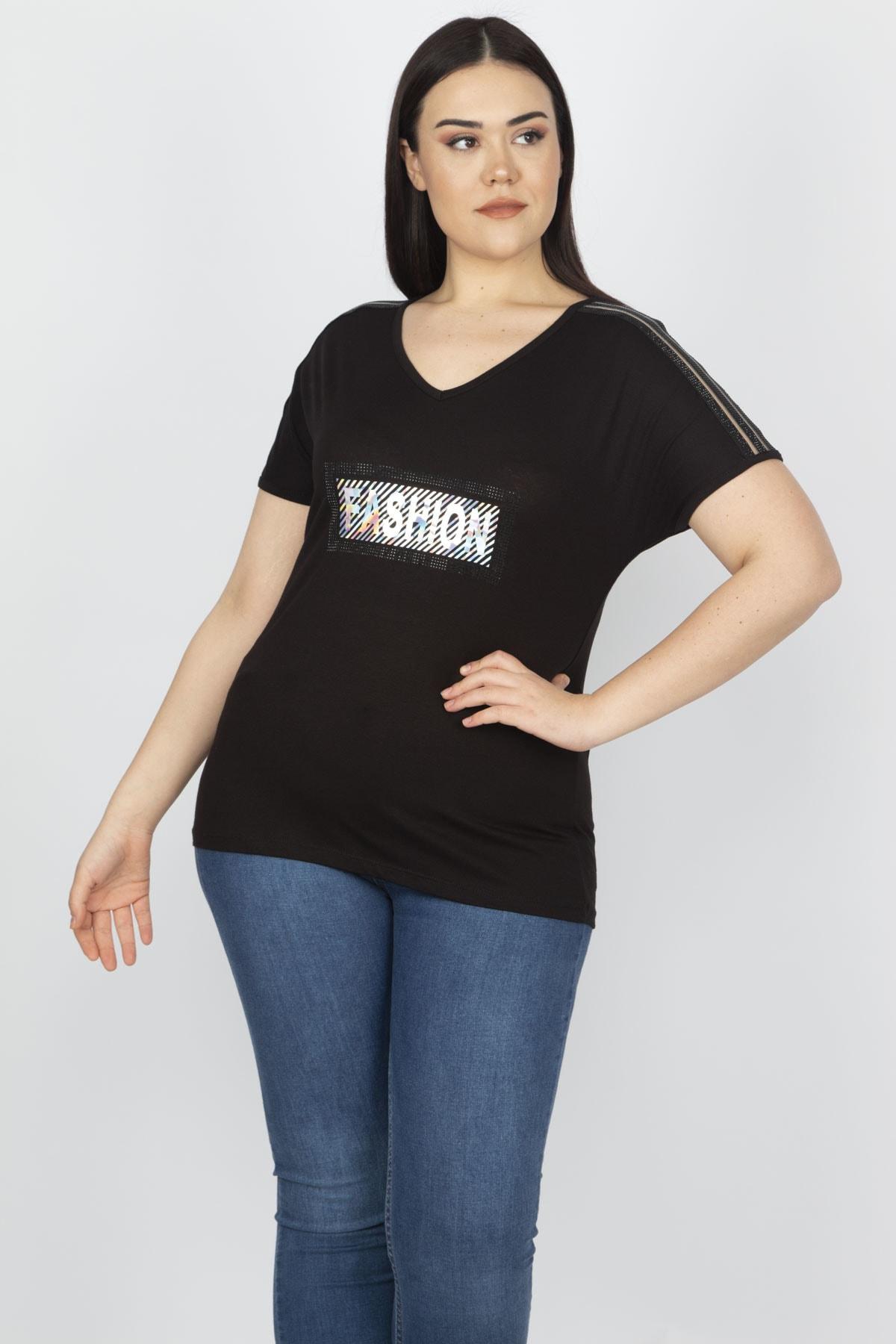 Şans Kadın Siyah Omuz Detaylı Viskon Bluz 65N15199 1