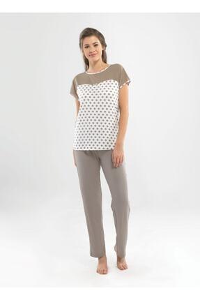 Blackspade Kadın Puantiyeli Pijama Takımı - 6811 - Vizon